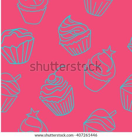 Doodle Cupcake Line Illustration For Menu Cards Patterns Wallpaper Seamless Pattern