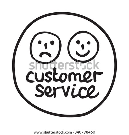 Doodle Customer Service icon. Infographic symbol in a circle. Line art style graphic design element. Web button. Client support, happy and unhappy customer concept.  - stock vector