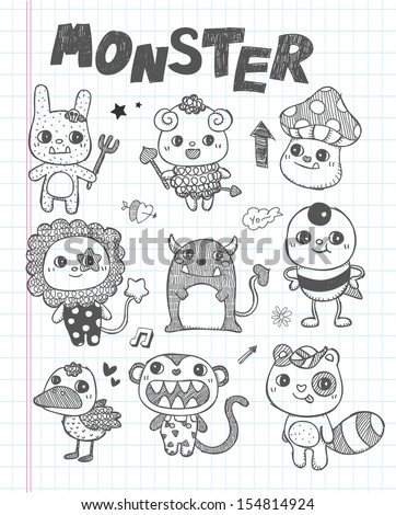 doodle cute monster icons - stock vector