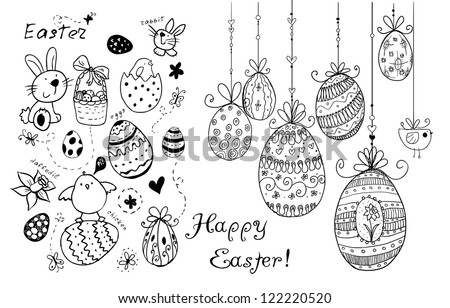 Doodle decorative eggs and elements for Easter. - stock vector