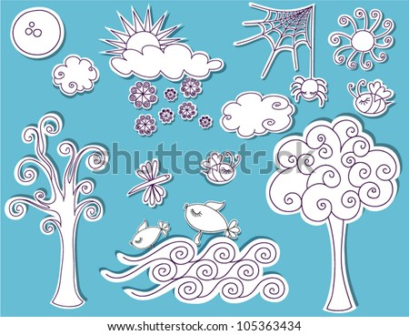 Doodle Design Elements - Nature, trees, clouds, sun, snow, sea, bees, bugs and more in a playful sketchy style, designed to be pinned to any page like black and white cutouts - stock vector