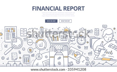 Doodle design style concept of business reporting, financial communication and investment. Modern line style illustration for web banners, hero images, printed materials - stock vector