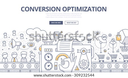 Doodle design style concept of conversions marketing, customer management, SEO technology of converting leads into sales. Modern line style illustration for web banners, hero images, printed materials - stock vector