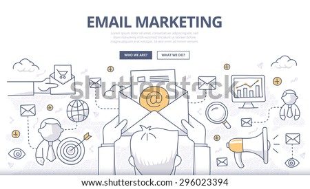 Doodle design style concept of digital marketing, email campaign, newsletter and subscription. Modern line style concept for web banners, online tutorials, printed and promotional materials