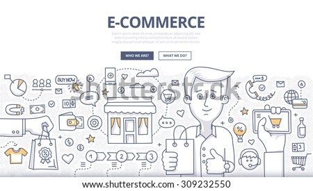 Doodle design style concept of e-commerce sales, online shopping, digital marketing and customer buying experience. Modern line style illustration for web banners, hero images, printed materials - stock vector