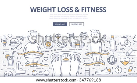 Doodle design style concept of healthy lifestyle, controlling body mass weight, dieting and fitness. Modern line style illustration for web banners, hero images, printed materials - stock vector