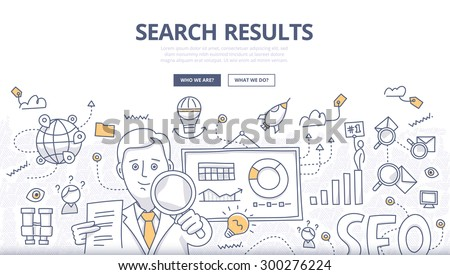 Doodle design style concept of online search, SEO technology, user web search experience, website ranking and marketing. Concepts for web banners, online tutorials, printed and promotional materials - stock vector