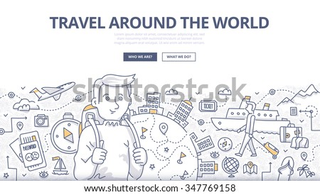 Doodle design style concept of traveling around the world, tourism adventure lifestyle . Modern line style illustration for web banners, hero images, printed materials - stock vector