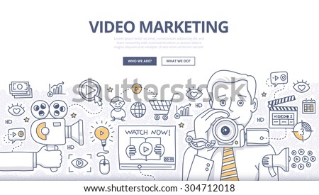 Doodle design style concept of video marketing strategy, product overview, creating explainer video to increase sales. Modern line style illustration for web banners, hero images, printed materials - stock vector