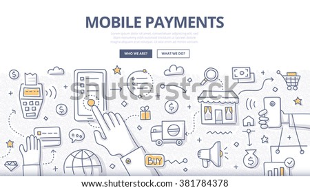 Doodle design style illustration of making payments with mobile device. Modern NFC technologies line style concept for web banners, printed materials - stock vector