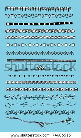 Doodle dividers, borders - stock vector