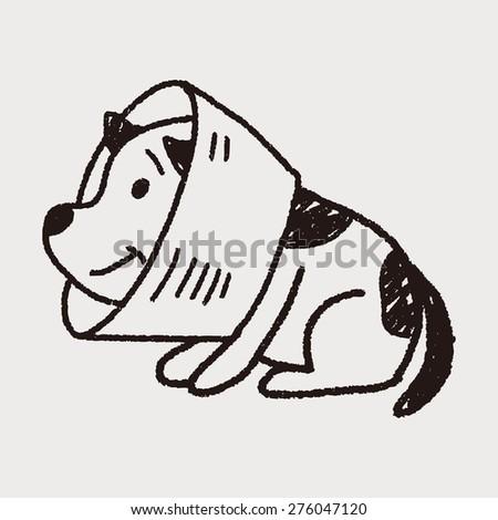 doodle dog collar - stock vector