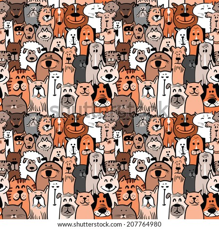 doodle dogs and cats seamless pattern - stock vector