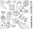 Doodle dogs set - pen on paper - stock vector