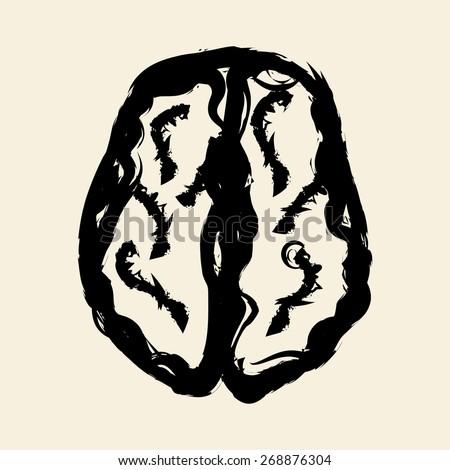 doodle drawing brain - stock vector
