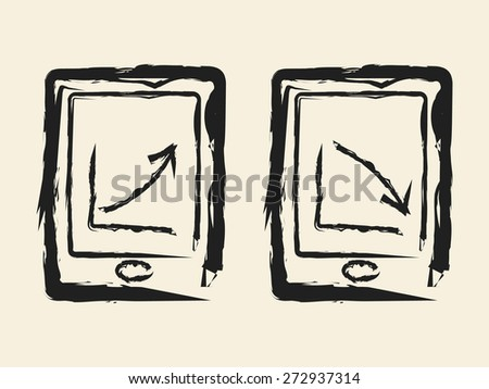 doodle drawing business graph - stock vector