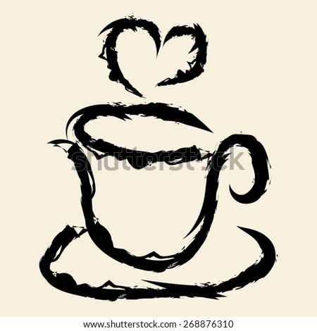 doodle drawing coffee cup - stock vector