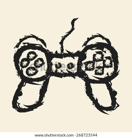 doodle drawing game controller - stock vector