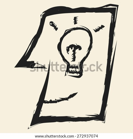 doodle drawing idea in head - stock vector