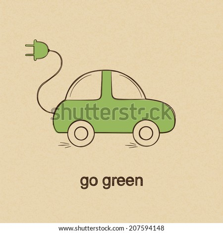 Doodle drawing of eco friendly electric car over rough brown paper background - stock vector