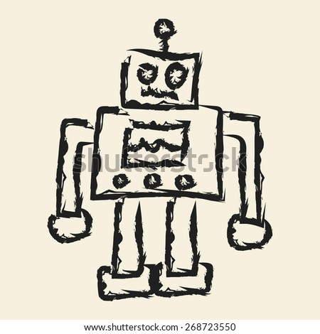 doodle drawing robot - stock vector