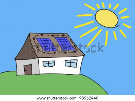 Doodle drawing - solar energy concept. Renewable sun power with photovoltaic cells on house roof. - stock vector