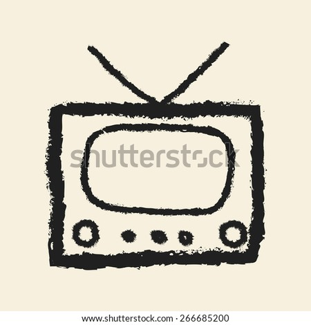 doodle drawing television - stock vector