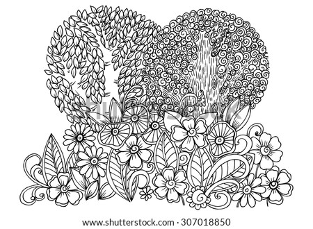 Doodle drawing. Vector floral image with trees in black and white - stock vector