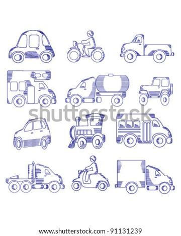 Doodle Drawn Transportation - stock vector