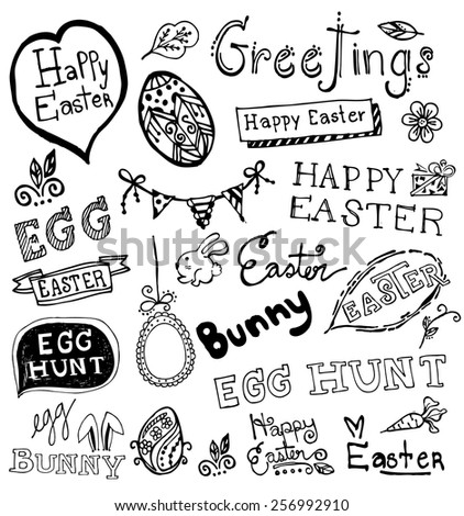 Doodle Easter . - stock vector