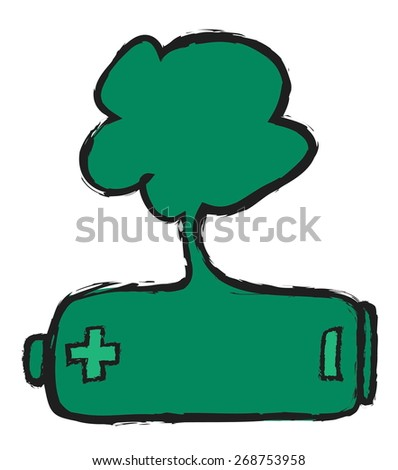 doodle eco green battery, recycling, vector illustration design element - stock vector