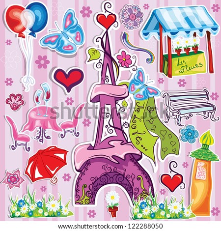 doodle eiffel tower  with different french symbols - stock vector