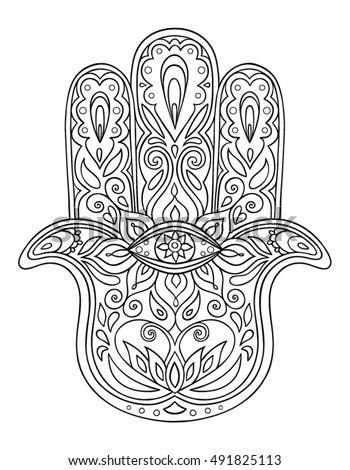 Jewish hamsa coloring page pages sketch coloring page - Coloriage main de fatma ...