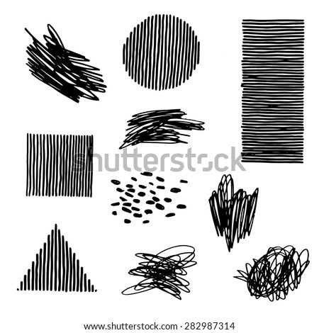 doodle elements and hand drawn geometric figures vector illustration set - stock vector