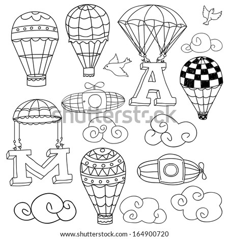 Doodle Elements: birds, clouds, parachutes lifting letters A and M, set of hot air balloons. - stock vector