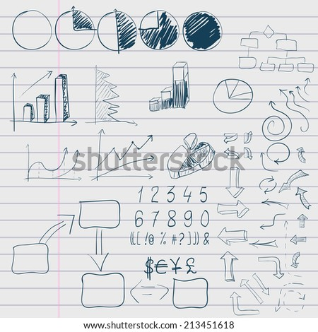 doodle elements of business infographic on lined sheet. Vector illustration - stock vector