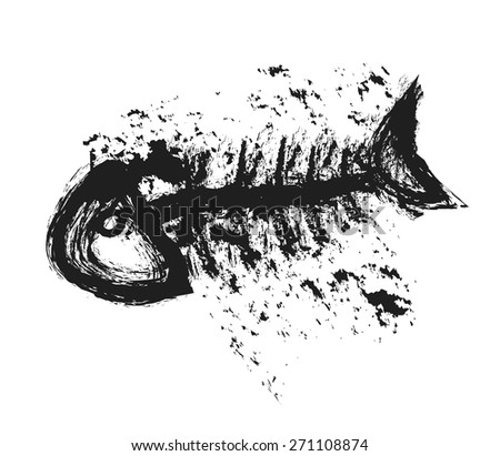 doodle fishbone, vector illustration art design element - stock vector