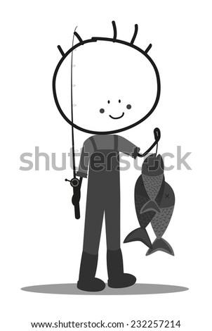 Doodle fisherman - stock vector