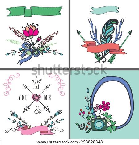 Doodle floral card set.Colored hand sketched flowers,branches,labels,vintage elements.For card,invitation,menu.Cute holiday Vector.Congratulation wedding,birthday,Easter,mothers day,Valentines day - stock vector