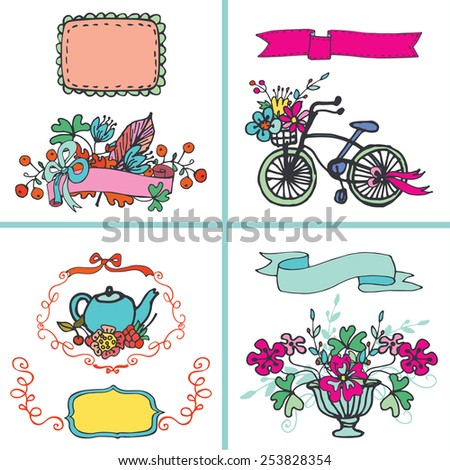 Doodle floral card set,Colored hand sketched flowers,vintage elements.For card,invitation,menu.Cute Vector.Congratulation wedding,birthday,Easter,mothers day,Valentines day - stock vector