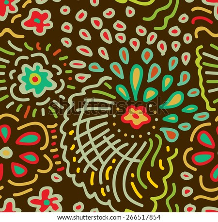 Doodle floral pattern. Vector seamless texture with abstract flowers, drops and waves. Endless background.  - stock vector