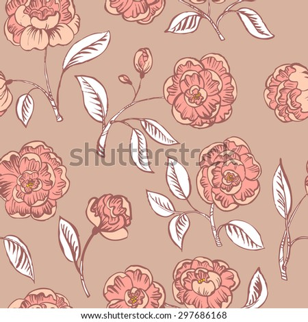 Doodle floral seamless pattern in pink colors - stock vector