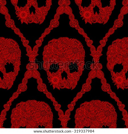 Doodle floral skulls damask seamless pattern in bright red over black. Halloween skull seamless pattern. - stock vector