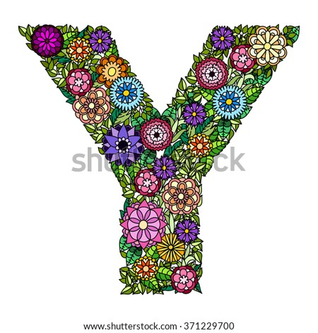 Doodle flower letter Y. Floral element of colorful alphabet made from flowers.