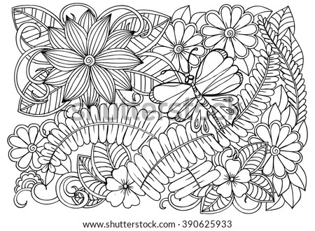 Doodle Flower Pattern And Butterfly Beautiful Floral Drawing In Black White Adult Coloring Book