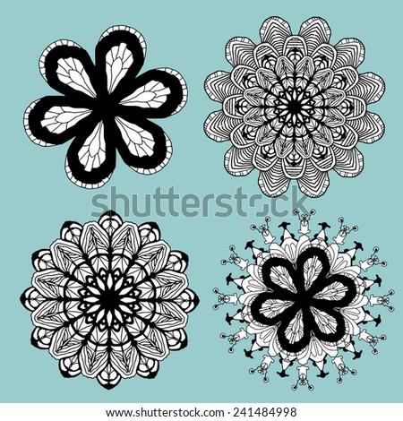 Doodle Flower Set - stock vector