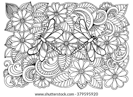 Doodle Flowers And Dragonflies In Black White Can Use Coloring Book For Adult