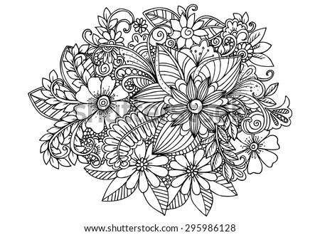 Doodle flowers in black and white. Vector floral design elements. - stock vector