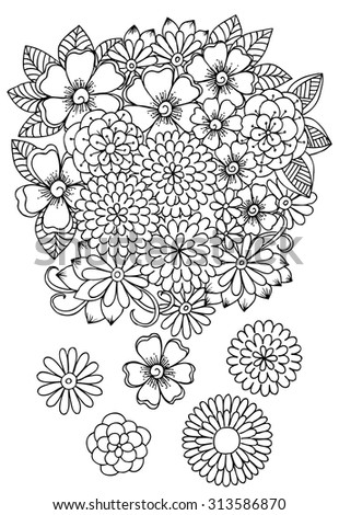 Doodle flowers on a white and some floral design elements for coloring  - stock vector
