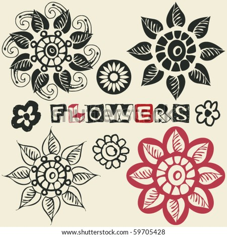 doodle flowers, vector design elements - stock vector